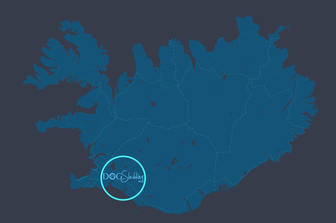 blue map of iceland and dog sledding iceland logo