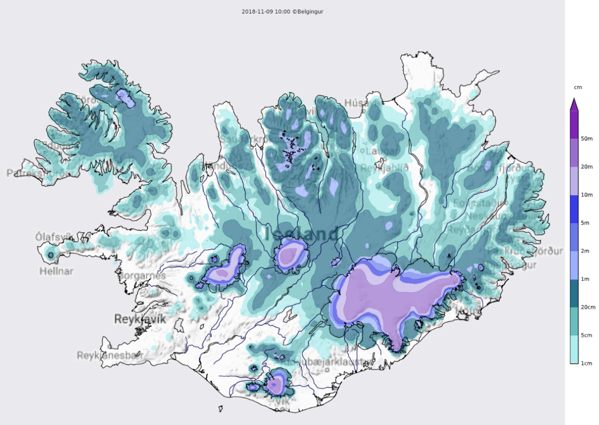 iceland weather map snow cover
